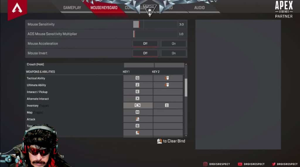 Dr Disrespect Apex Legends Keyboard Settings