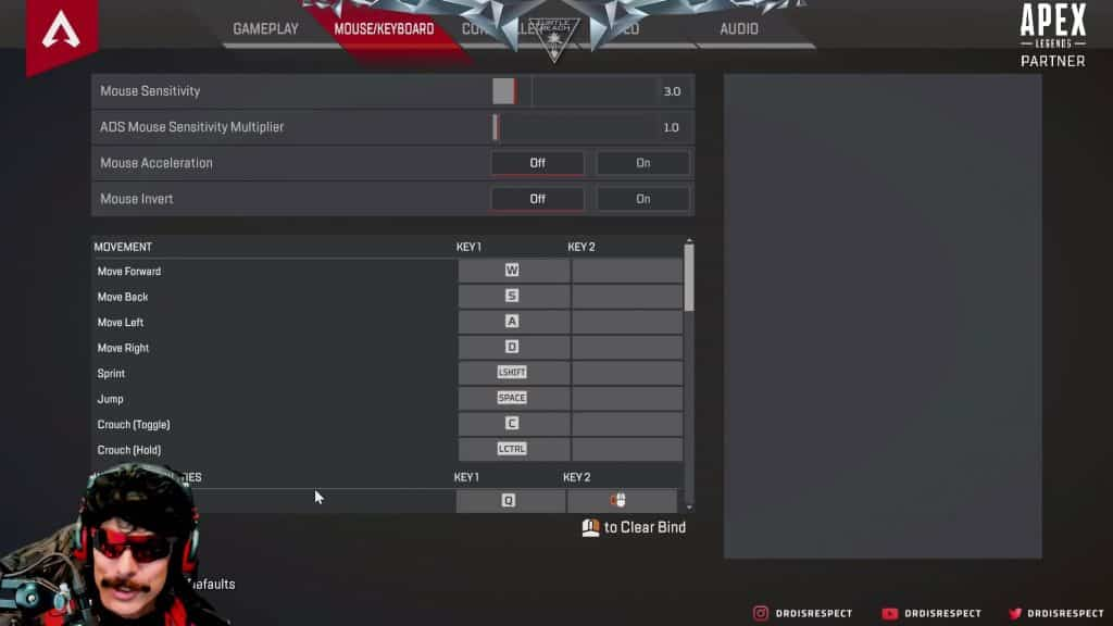 Dr Disrespect Apex Legends Mouse Keyboard Settings