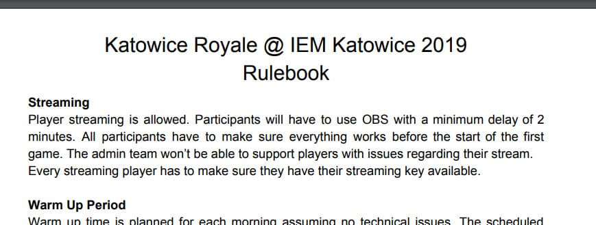 ESL Katowice Royale rulebook streaming allowed