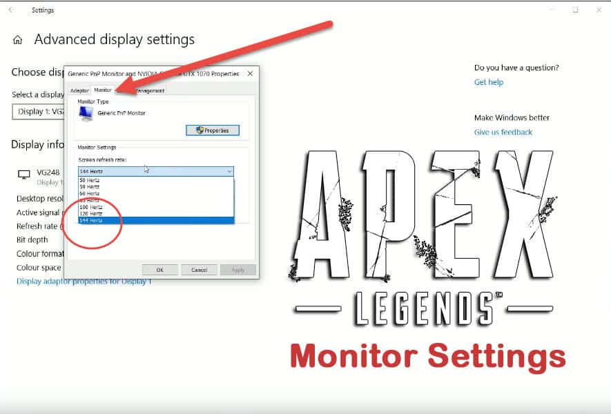 How to fix Apex Legends Monitor Settings Frame Rate Video