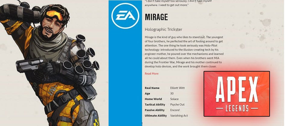 Mirage Apex Legends Holographic Trickster Character Special Finisher EA Games