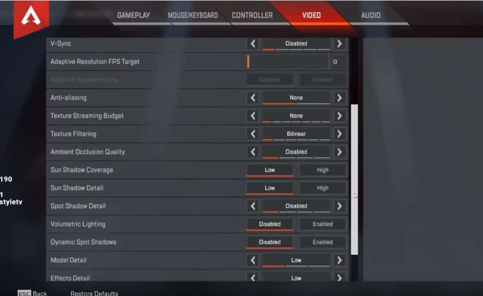 NRG Dizzy Apex Legends Video Setting Advanced Esports Pro Player NRG