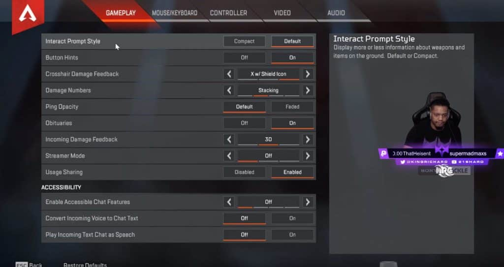 NRG KingRichard Apex Legends Gameplay System Setting Esports Pro Player