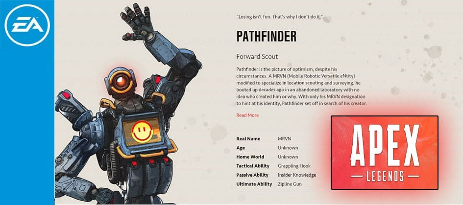 Pathfinder Apex Legends Forward Scott Character Special Finisher EA Games