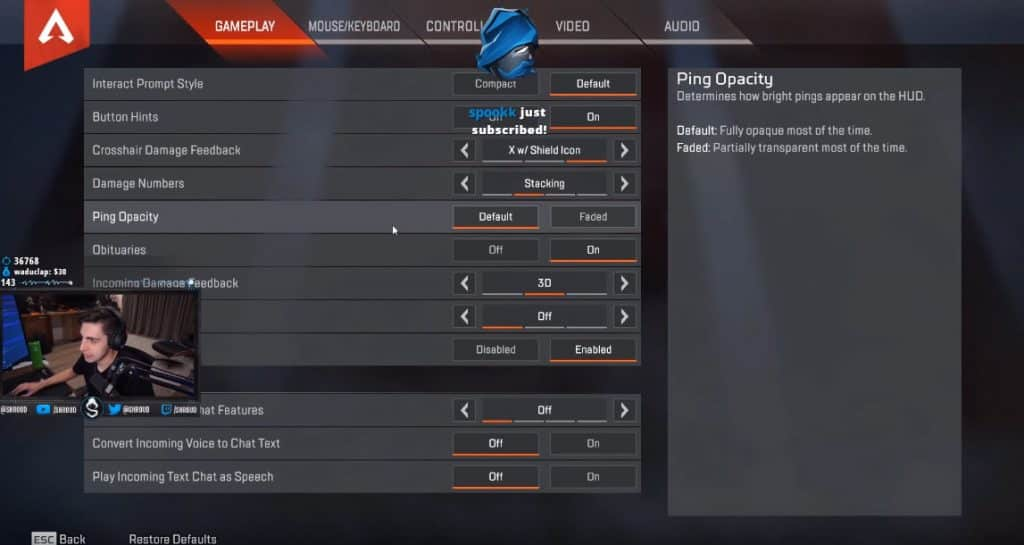Shroud Apex Legends Settings Gameplay PC