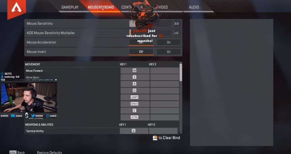 Shroud Apex Legends Settings Mouse PC