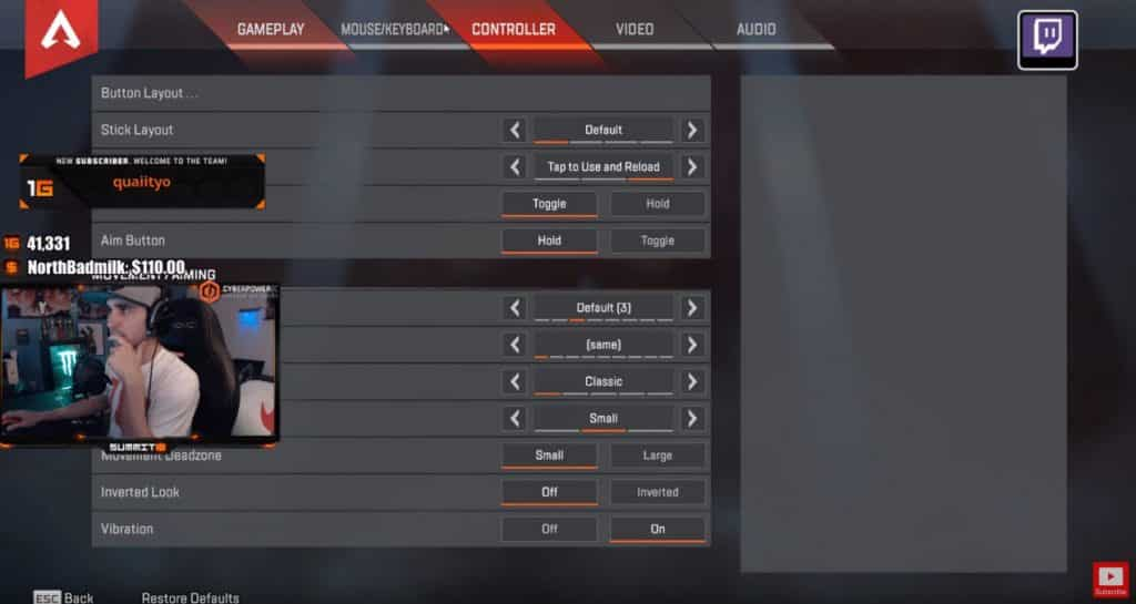 Summit1g Apex Legends Controller Settings for PC