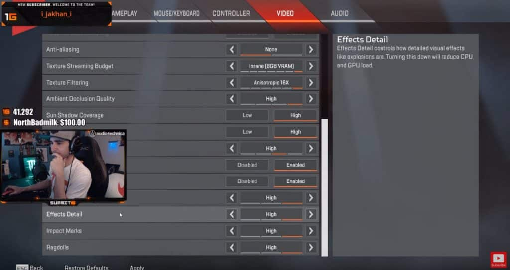Summit1g Apex Legends Effects Settings for PC