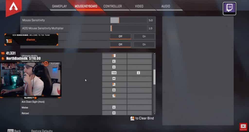 Summit1g Apex Legends Keyboard Settings for PC