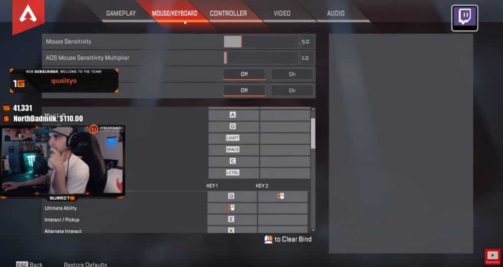 Summit1g Apex Legends Mouse Settings for PC