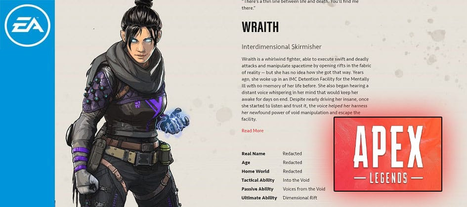 Wraith Apex Legends Interdimensional Skirmisher Character Special Finisher EA Games