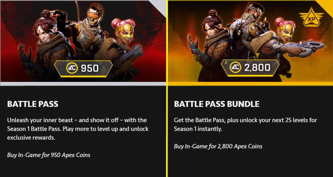 Apex Legends Season 1 Battle Pass Cost Pricing Price
