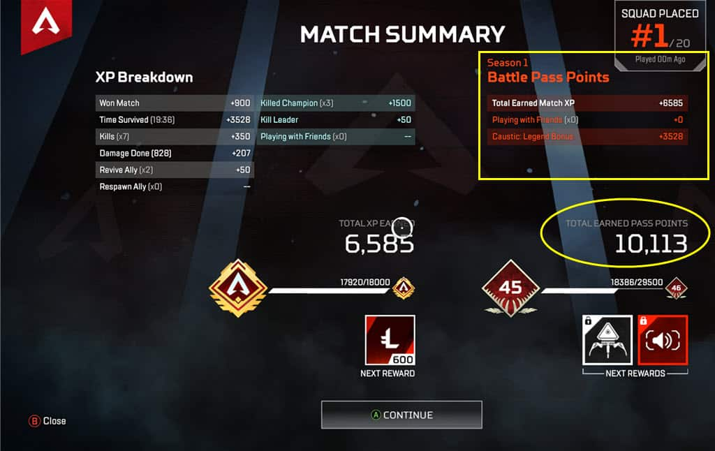 Apex Legends Battle Pass XP Breakdown