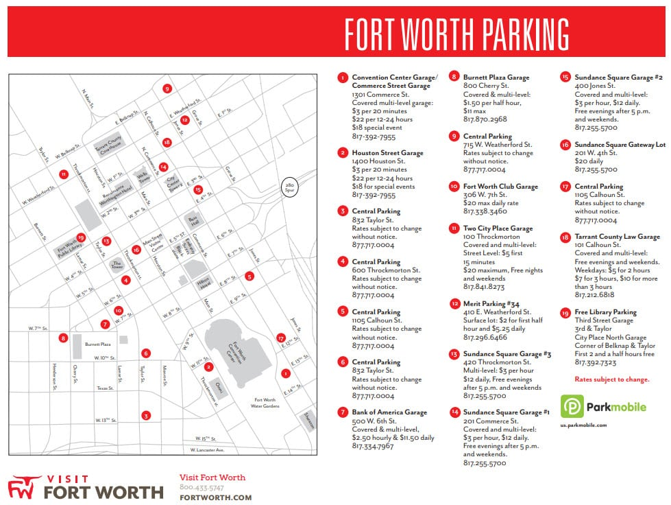 CWL Fort Worth Parking Locations on Map Where to Go