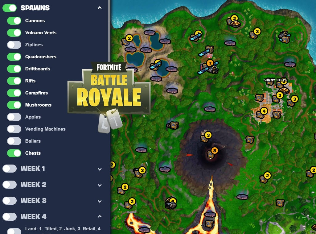 Interactive Fortnite Season 8 Map
