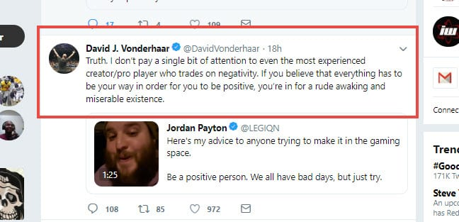 David J. Vonderhaar Ignores Negative Pro Players and Streamers