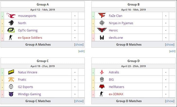 ESL Pro League Season 9 Groups