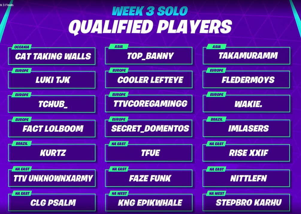 Week 3 Fortnite World Cup finals Solo Qualified Players