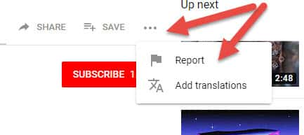Youtube Reporting Button