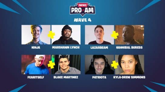 Fortnite Pro-Am 2019 Fourth Wave Celebrity Duo Partners