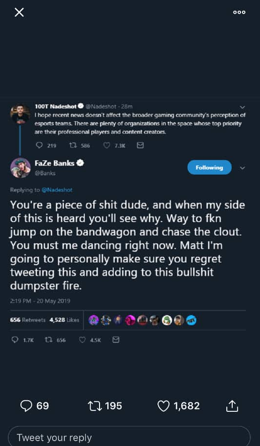 Nadeshot Controversial Tweet Against FaZe Clan Banks Responds