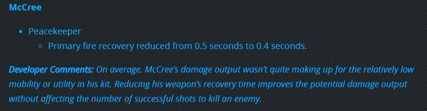 Patch Notes PTR Overwatch 1