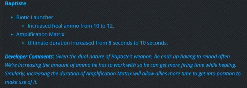 Patch Notes PTR Overwatch 2