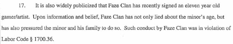 Tfue Lawsuit Case Minor Signed by Faze Clan
