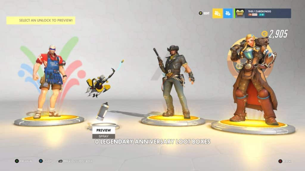 rewards of a loot box Overwatch anniversary