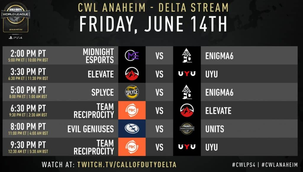 CWL Anaheim Friday Schedule Delta Stream