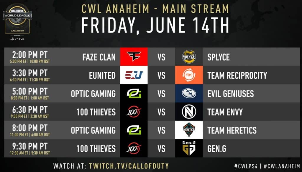 CWL Anaheim Friday Schedule Main Stream