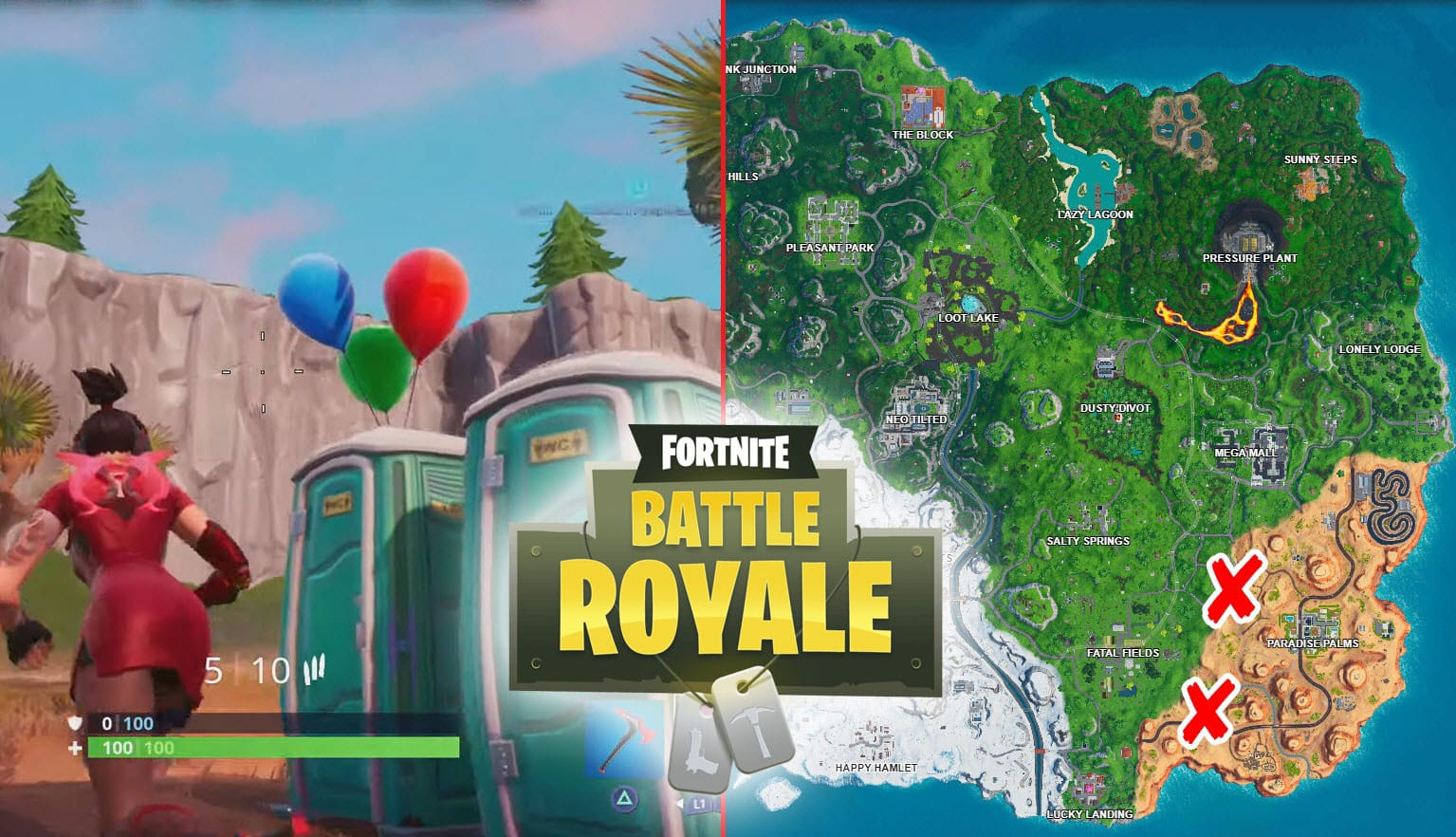 Fortnite Pop Party Balloon Decorations Challenge Locations