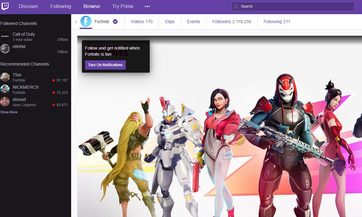 Official Fortnite Twitch Channel for World Cup