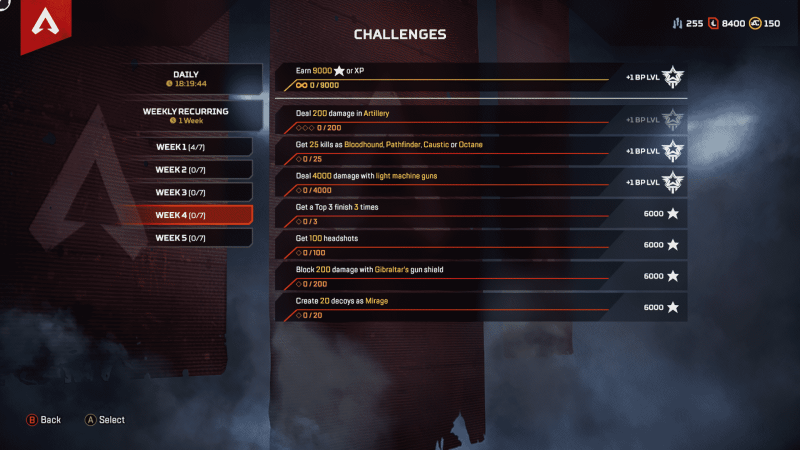 Weekly Challenge 4 Apex Legends