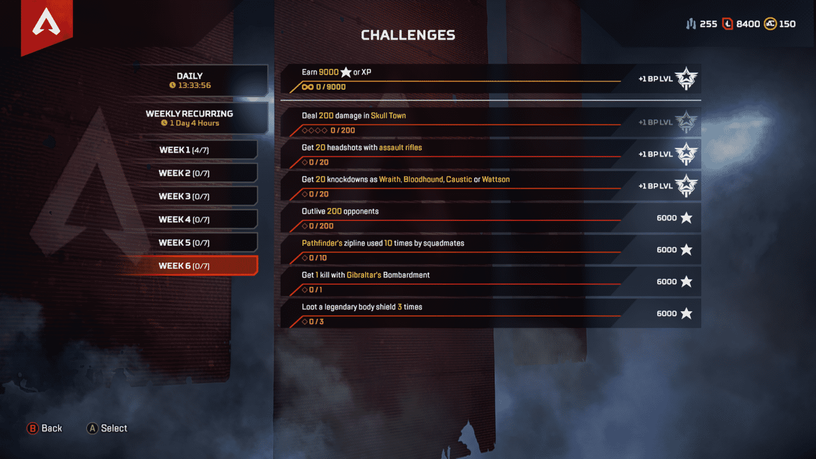 Weekly Challenge 6 week of August 5th Apex Legends