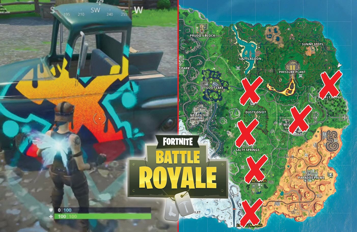 All Fortnite Cars And Trucks Locations Guide Spray And Pray Challenge Game Life