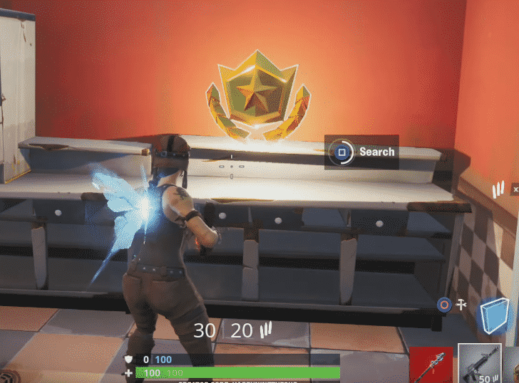 Battle Star Location week 3 Found at the ice cream shop in the desert (located at I-7 on the FN map grid)