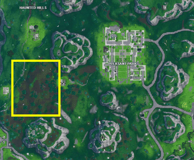 Foraged mushrooms Location #1 Between Haunted Hills and Pleasant Park in FN