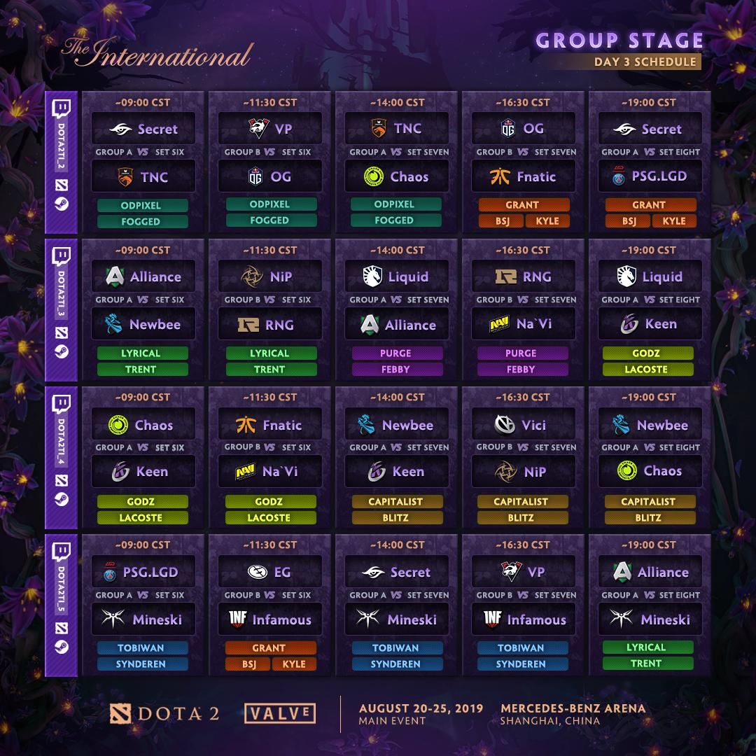 TI9 Group Stage Day 3 Schedule