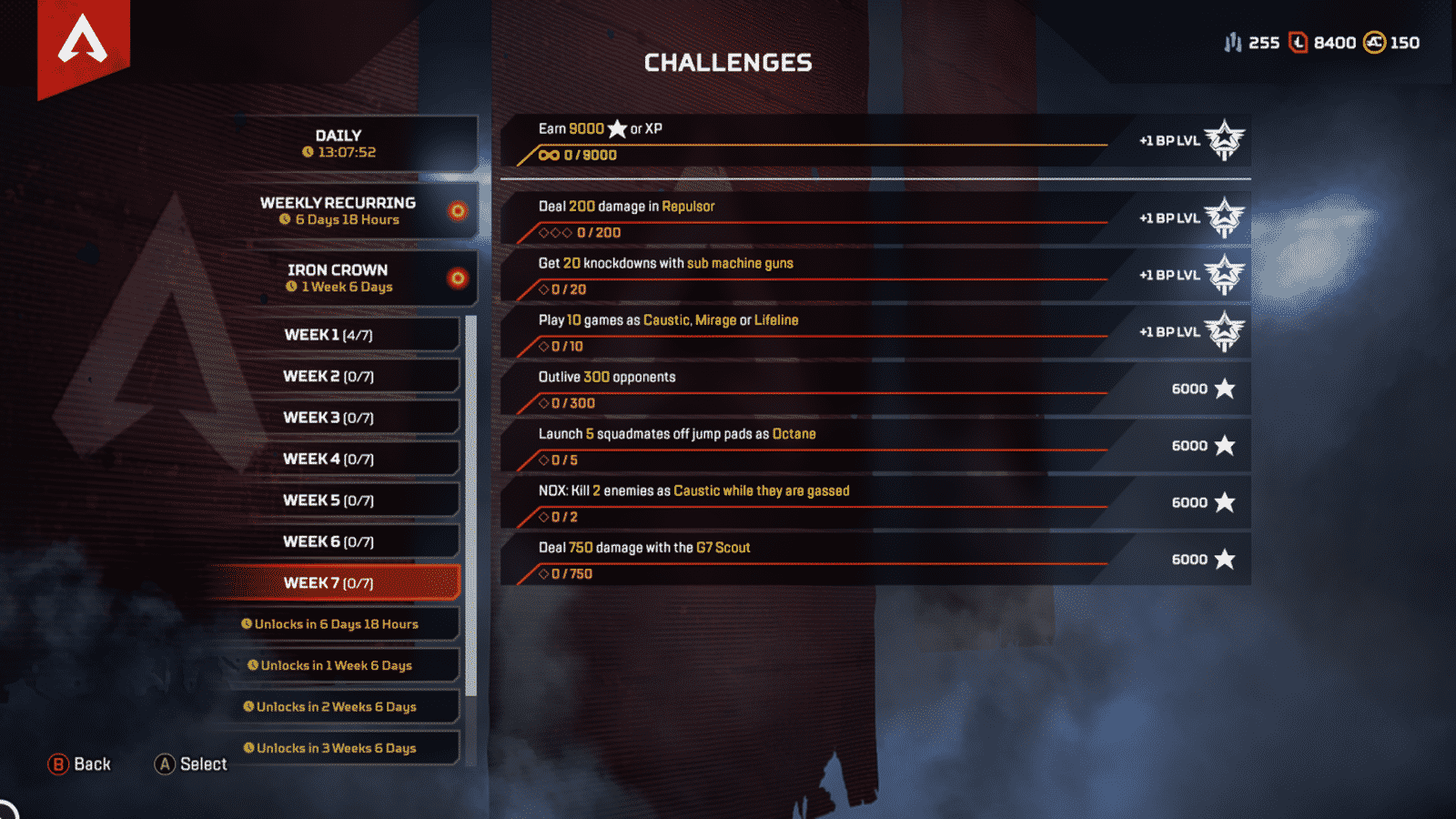 Week 7 challenges for Apex Legends task