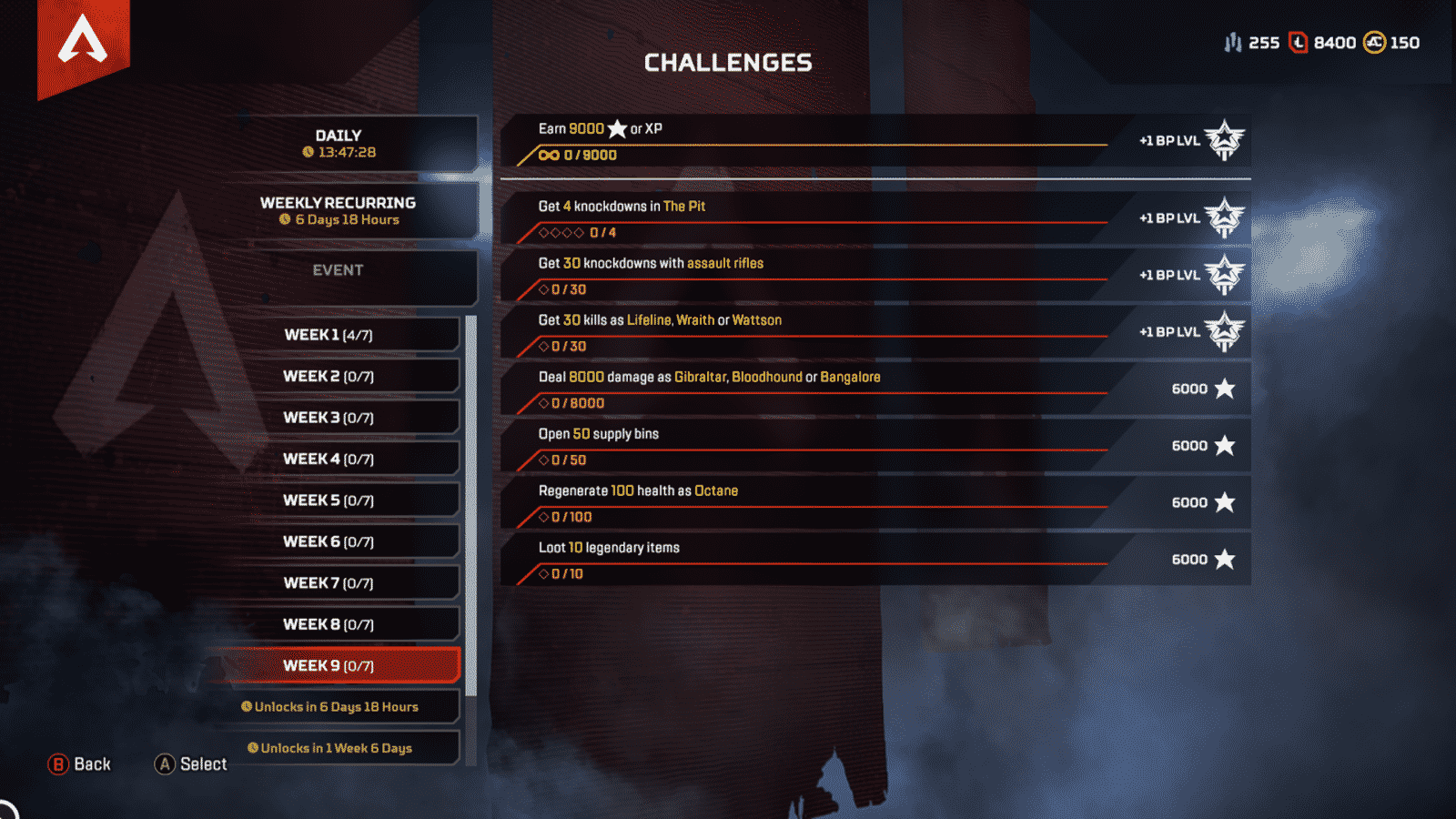 Week 9 challenges for Apex Legends season 2