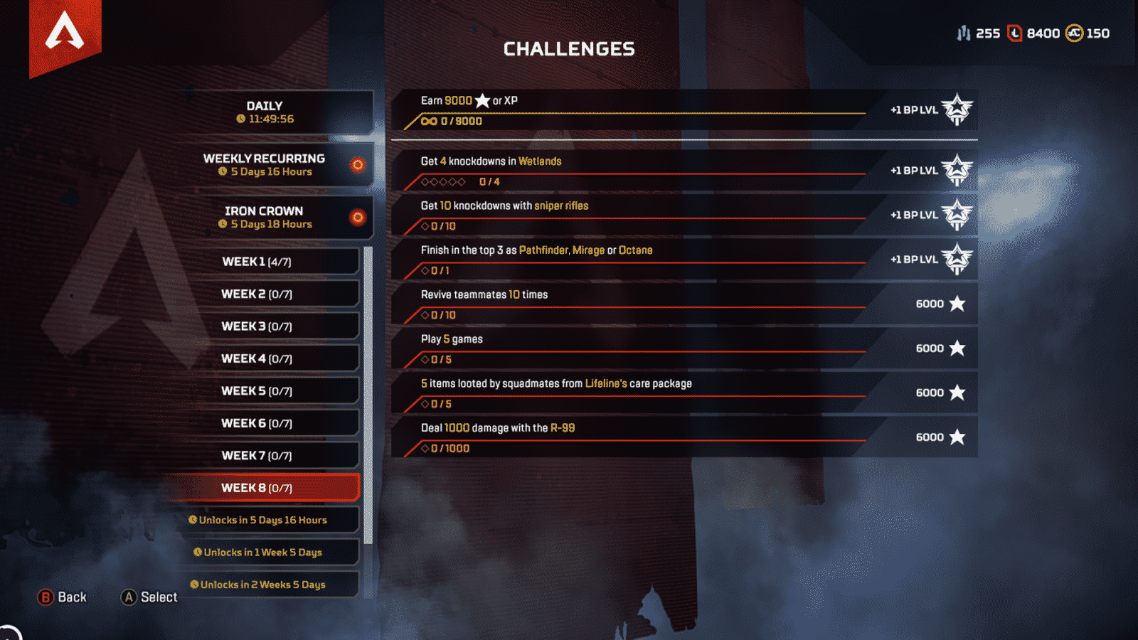 Weely 8 challenges for Apex Legends task