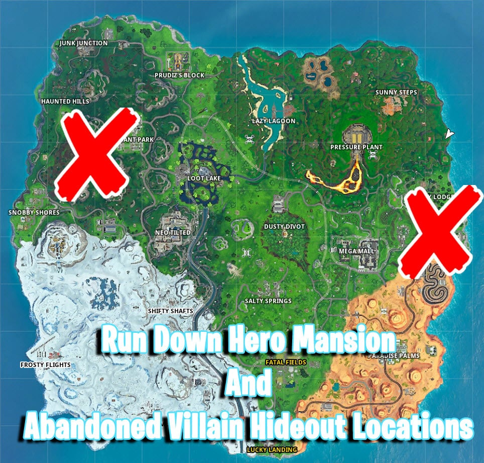 Where is the Hero Mansion And Abandoned Villain Hideout in Fortnite