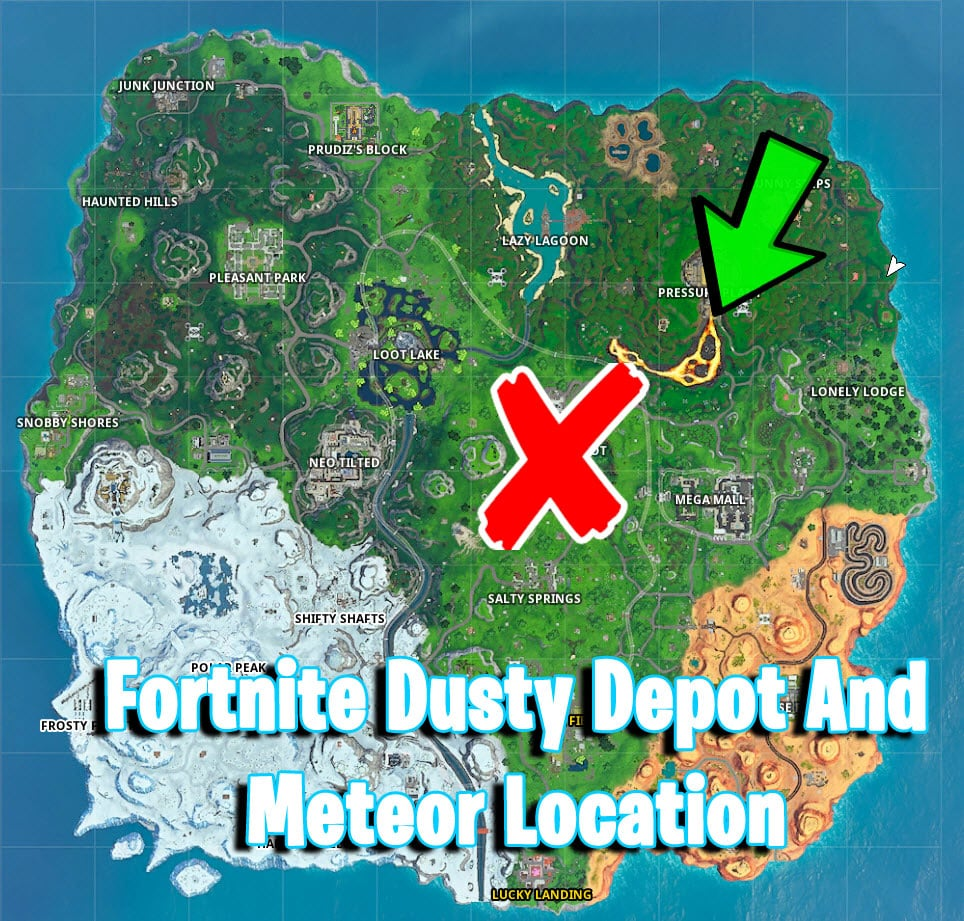 where is the Dusty Depot And Meteor Location in fortnite