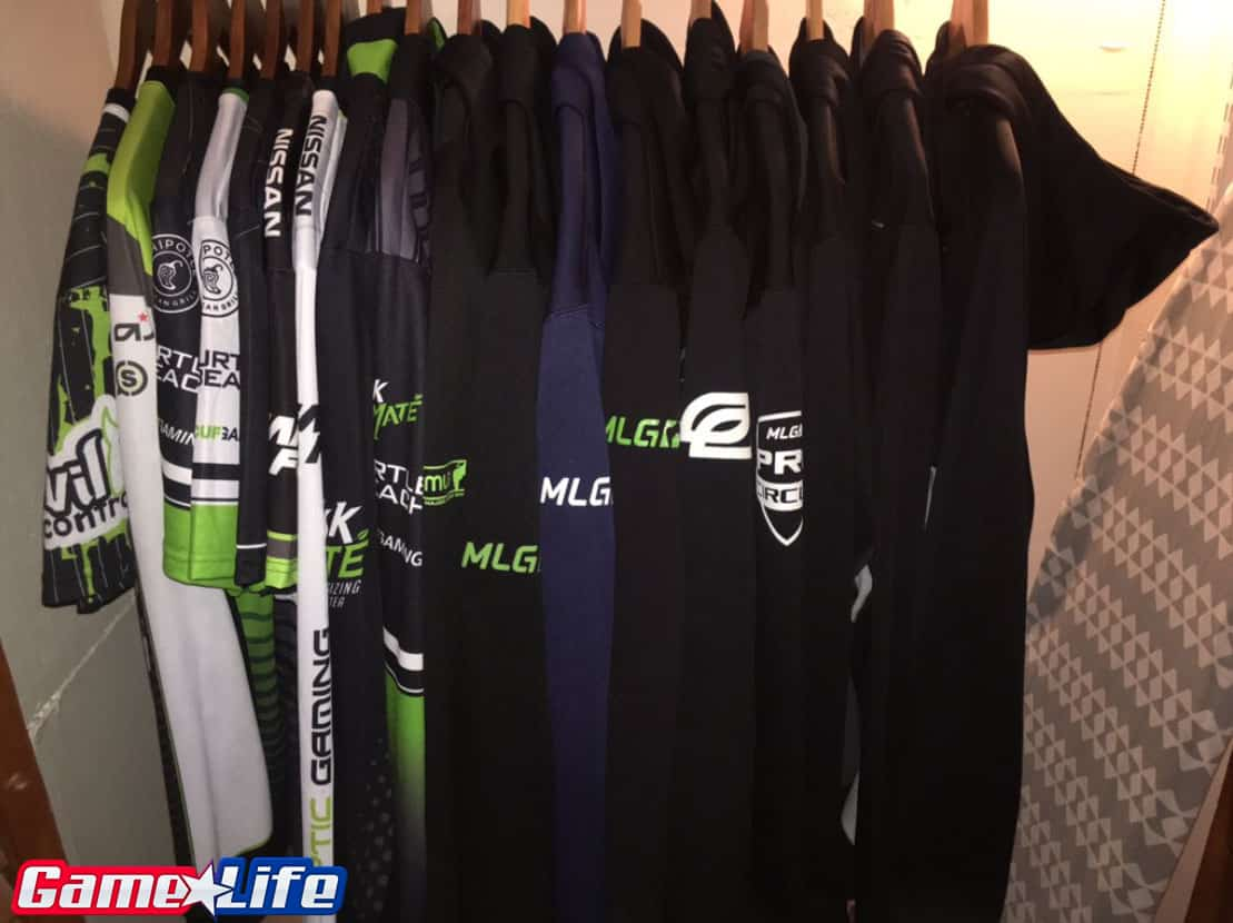 Closet full of OpTic Gaming Clothing