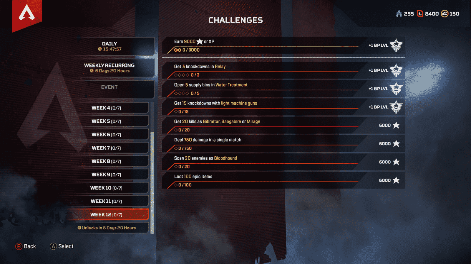 Weekly Challenge 12 week of September 10 Apex Legends