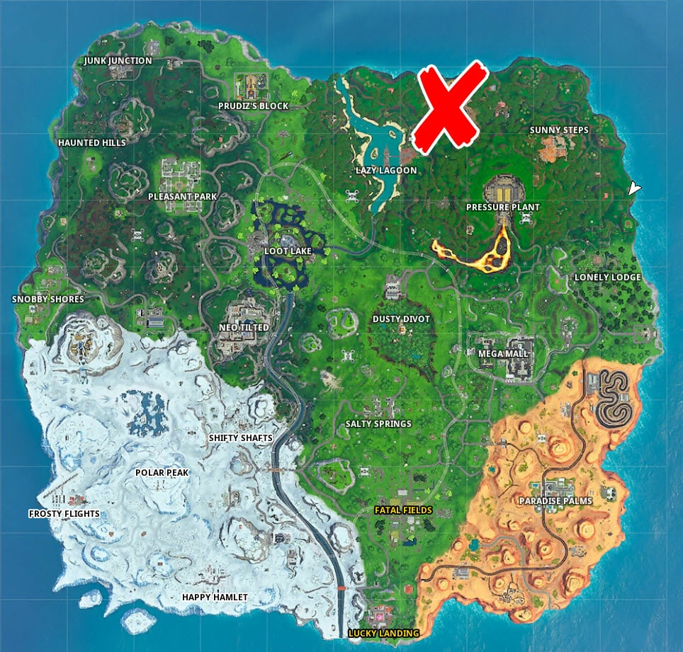 Where is the Bottle Flip Llama Pig Giant Fish in Fortnite