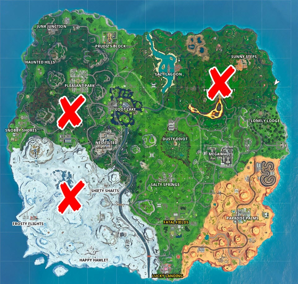 Where to land in Polar Peek, Volcano and Hill Top in Fortnite