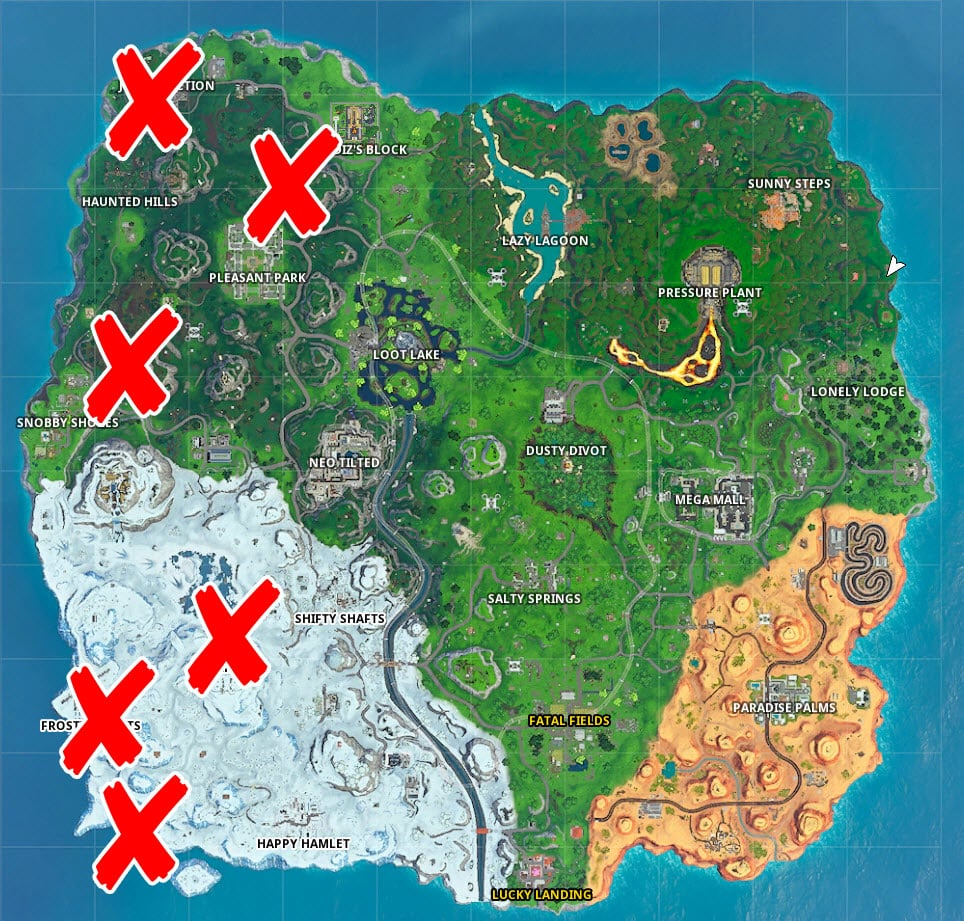 where are the no dancing signs in Fortnite
