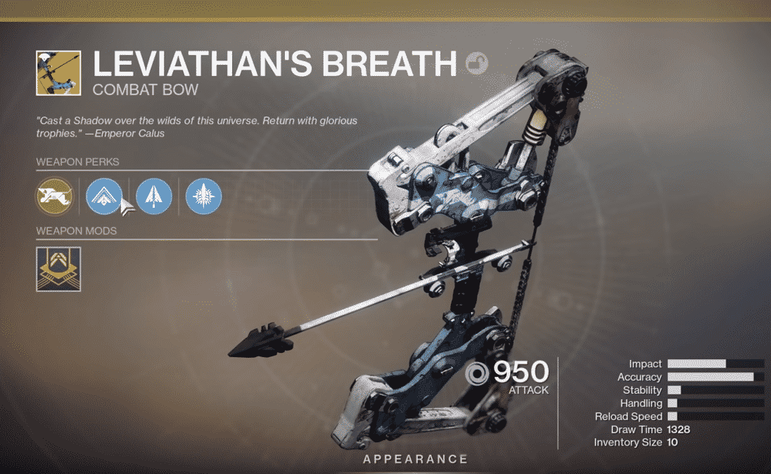 How To Obtain The Latest Exotic Bow Leviathan's Breath In Destiny 2